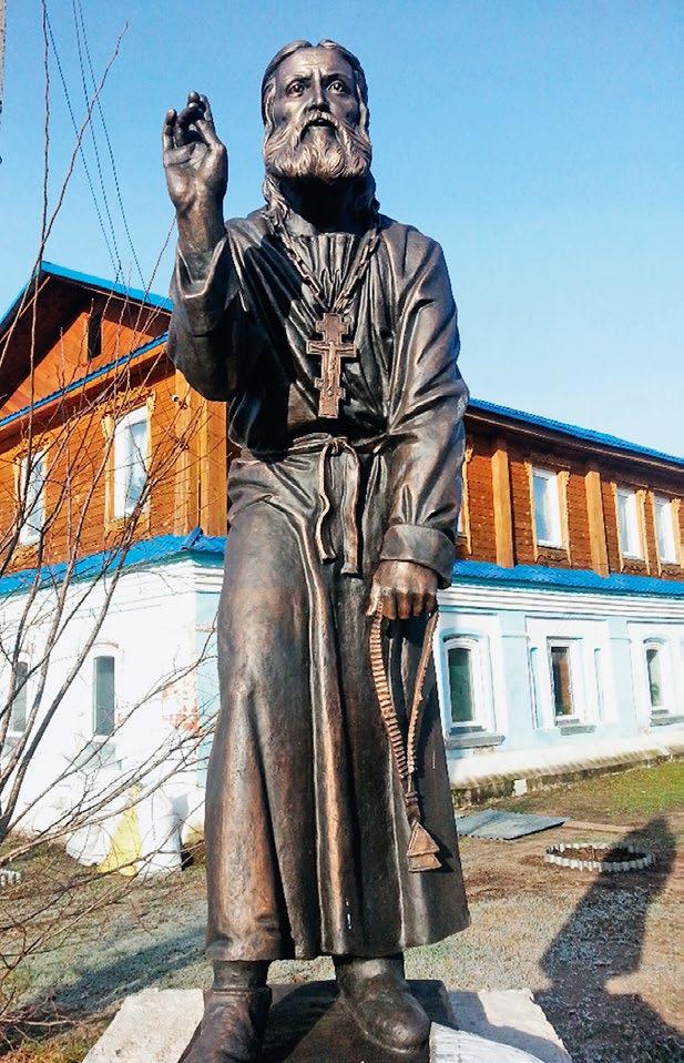 Памятник преподобному Серафиму Саровскому изготовлен на скульптурном предприятии «Лит Арт». Установлен в селе Давыдово Нижегородской области в 2013 году.