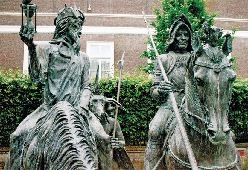 Скульптура «Рыцарь, смерть и дьявол» по картине Дюрера в Гааге