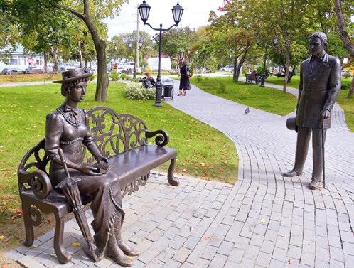 Скульптура «Встреча с незнакомкой» изготовлена из бронзы на скульптурном предприятии «Лит Арт». Установлена в Южно-Сахалинске в 2015 году.