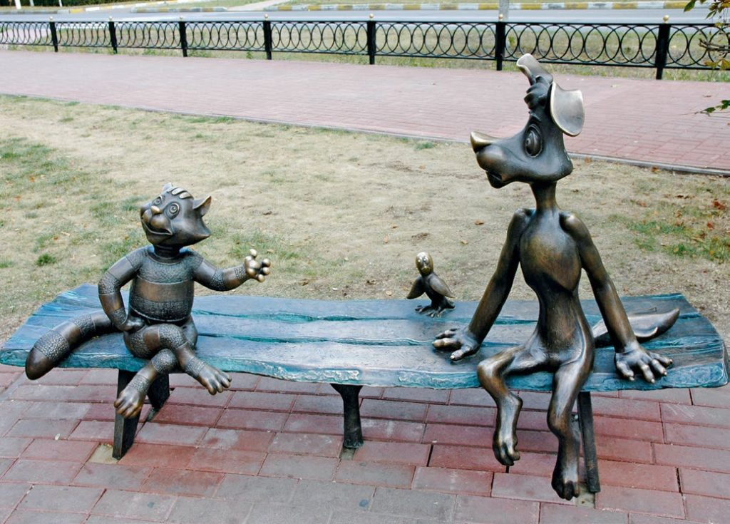Скульптура «Простоквашино» установлена в Раменском Московской области в 2005 году. Изготовлена из бронзы на скульптурном предприятии «Лит Арт».